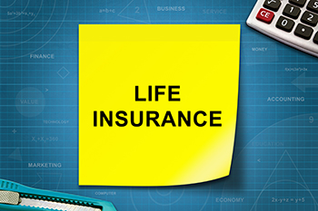 Life insurance word on yellow