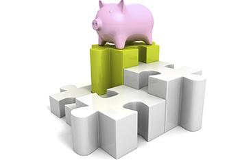 Piggy-money-safe-bank-on-jigsaw-puzzle-pie-char
