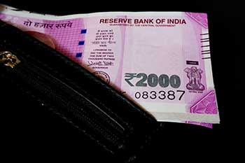 Indian rupee 2000 notes in black leather wallet