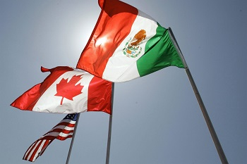US, Canada, & Mexico's flags sway ahead of US-Mexico Nafta talks on Monday, August 21, 2018.