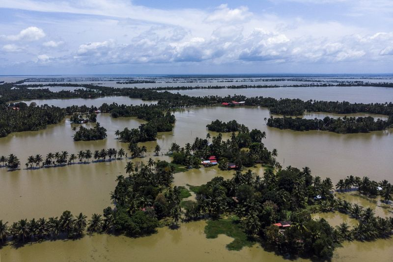 A Bloomberg still shows trees and houses partially submerged in floodwaters in Kerala on August 23.