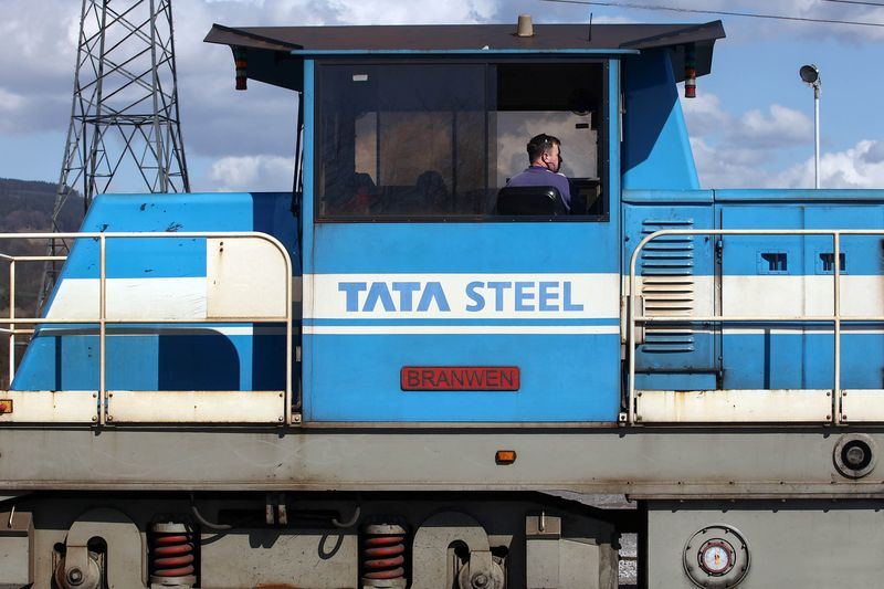 An employee sits in a railway train cabin at the steel works operated by Tata Steel in Port Talbot. Bloomberg
