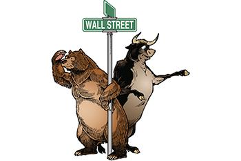 Bull-and-bear-standing-beside-street