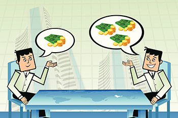 Two businessmen planning to invest in stock exchange across the table with highlighted world map