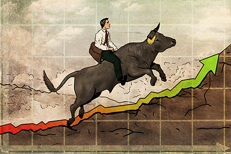 Man riding bull representing profit in stock market