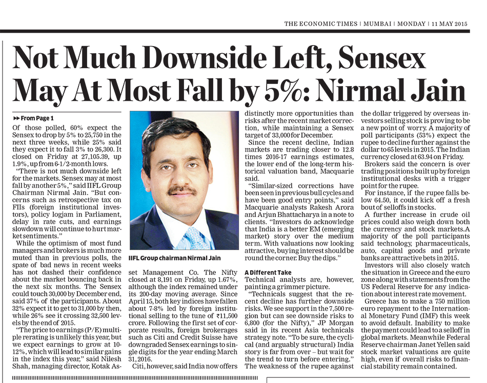 Not Much Downside Left Sensex May At Most Fall By 5